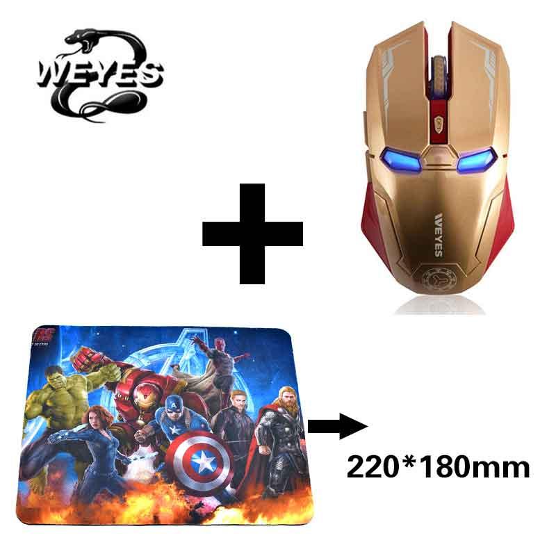 Gold Avengers Endgame Iron Man Mouse Wireless Mouse Ergonomic 2.4 G Portable Mobile Computer Click Silent Mouse Optical Mice with USB Receiver Gaming Mouse