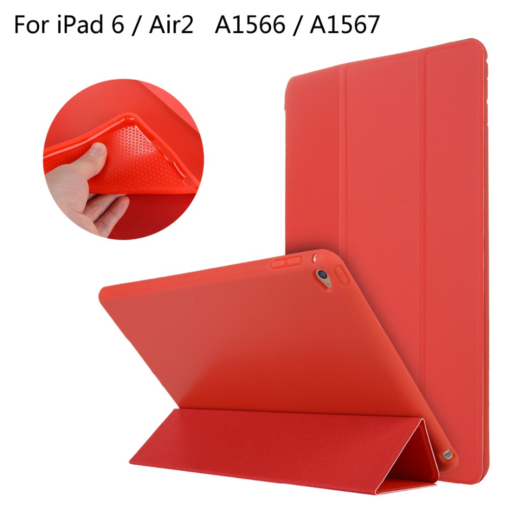 For iPad 6 / Air2 / Air 2 9.7 inch table High-quality case Cover Smart Slim Magnetic TPU Leather Stand Cases + Film + Stylus for ipad mini4 cover high quality soft tpu rubber back case for ipad mini 4 silicone back cover semi transparent case shell skin