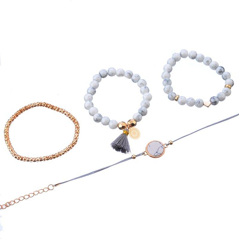 Crazy Feng 2018 Bohemian Marble Stone Beads Bracelet Set For Women Natural Stone Tassel Pendant Bangles Bracelet Femme Jewelry 2