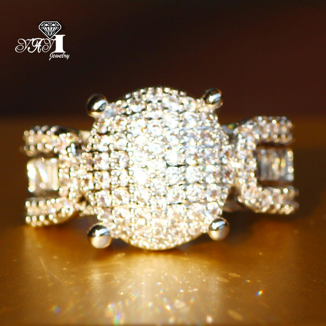 YaYI Jewelry Fashion  Princess Cut 4.5 CT White Zircon Silver Color Engagement  Rings wedding Heart Rings Party Rings