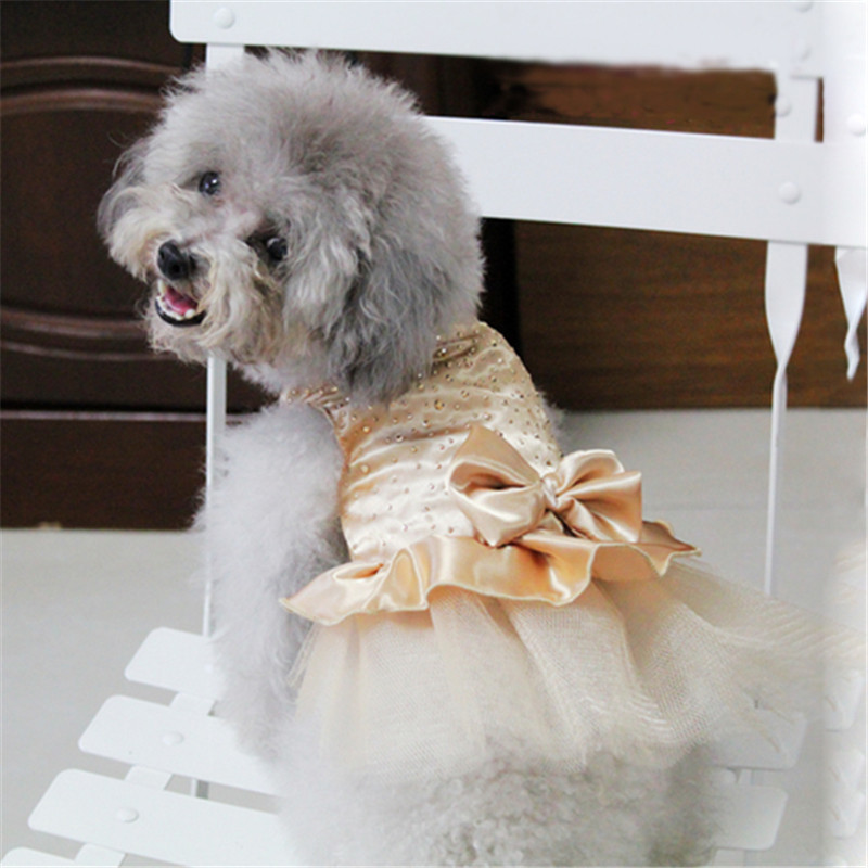 Pearl Flower Adornment <font><b>Dog</b></font> <font><b>Dress</b></font> Wedding <font><b>Dresses</b></font> For <font><b>Dogs</b></font> Pet Skirt Costume Supplies <font><b>XS</b></font>, S, M, L, XL image