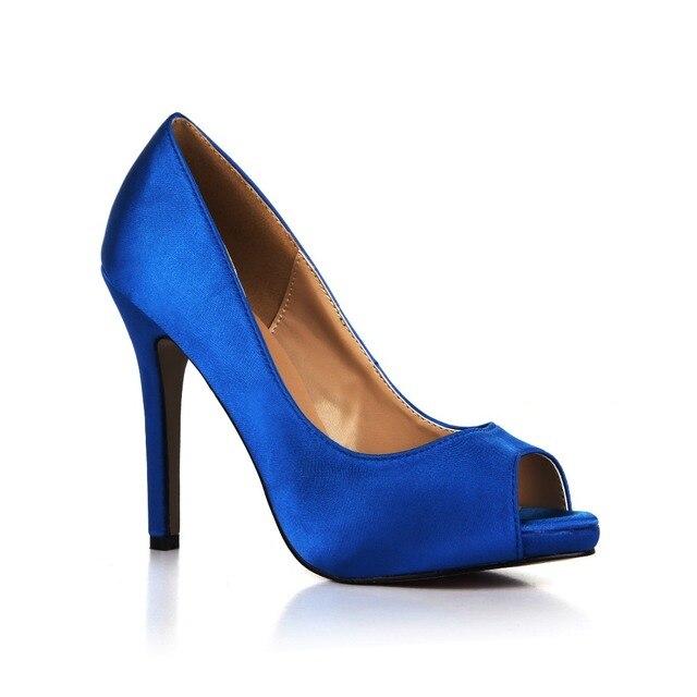 Silk Satin Wedding Shoes Elegant Ladies Open Toe Pumps