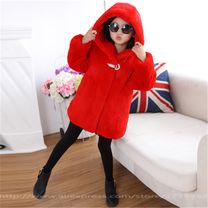 New Rabbit Fur Long Coat Children Winter Whole Skin Rabbit Fur Coat Hooded Jacket Children's Fur Outerwear Coat Free Shopping