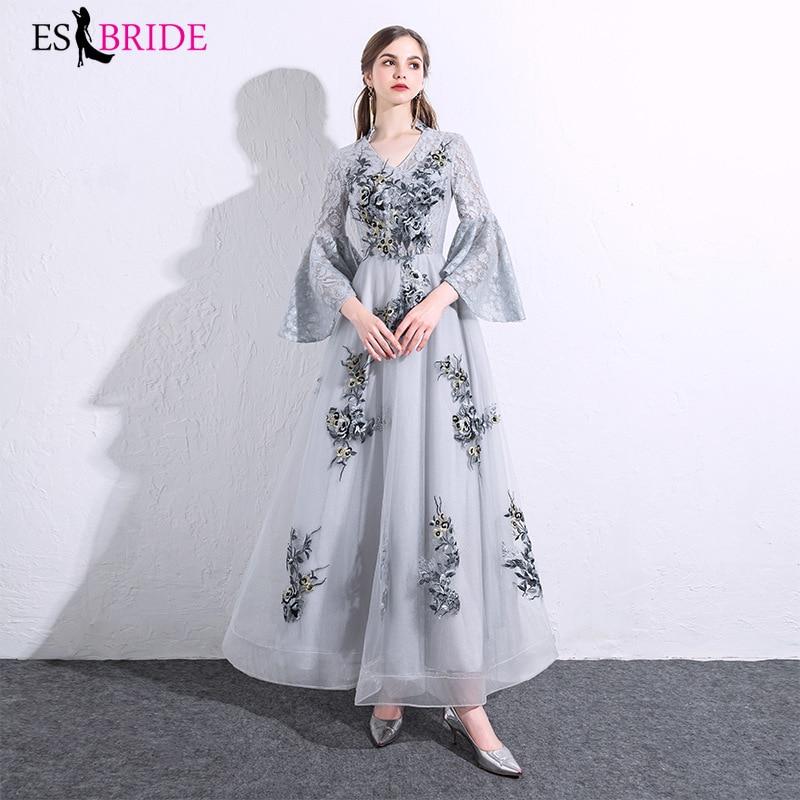 Grey Lace Appliques Vestidos Elegantes 2019 Special Occasion   Dresses     Evening     Dresses   Long 2019   Evening     Dress   Formal   Dress   ES2484