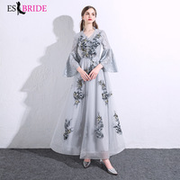Grey Lace Appliques Vestidos Elegantes 2019 Special Occasion Dresses Evening Dresses Long 2019 Evening Dress Formal Dress ES2484