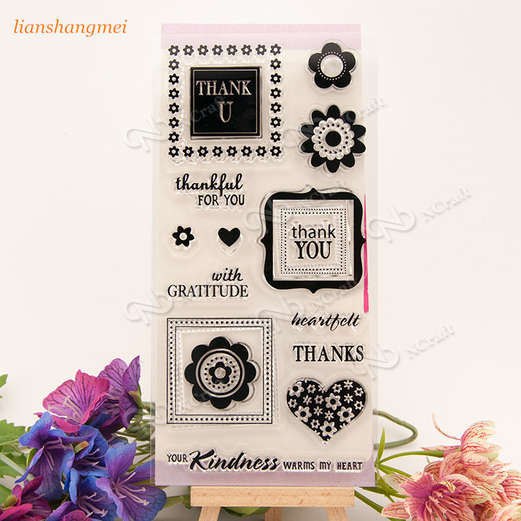 Thanks Clear Silicone Stamp for DIY scrapbooking/photo album Decorative craft 223 angel and trees clear stamp variety of styles clear stamp for diy scrapbooking photo album wedding gift ll 163