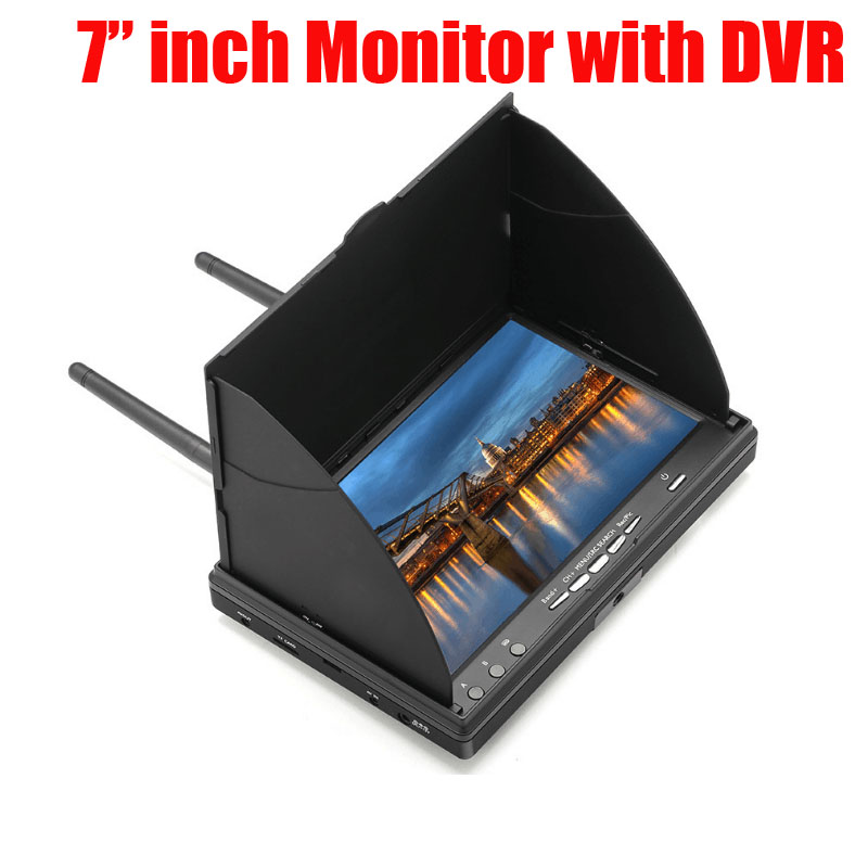 Free shipping 7 Inch FPV Monitor with DVR Build-in Battery For FPV Multicopter RC Quadcopter Part fpv monitor display integration 7 inch 5 8g receiver aerial for quadcopter hexacopter with sunshield sunshade fast shipping