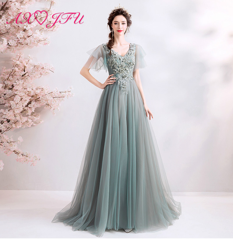 AXJFU princess Gray-green lace   evening     dress   birthday dinner v neck ruffles beading performance host grey   evening     dress   1207
