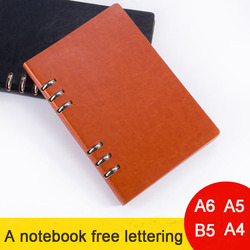 Luźna książka notatnik A6A5B5A4 pusty biały papier prosty notatnik Business niestandardowe LOGO PU skórzane darmo napis prezent