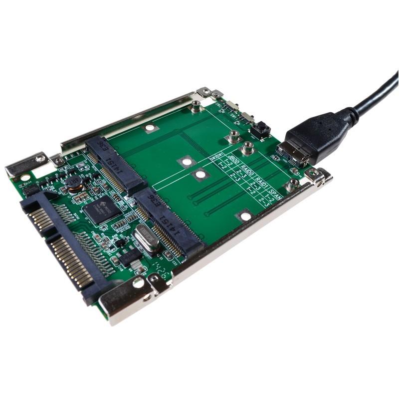2.5 SATA III to dual mini SATA USB 3.0 to 2 mSATA SSD Raid controller card Converter with cable (4)
