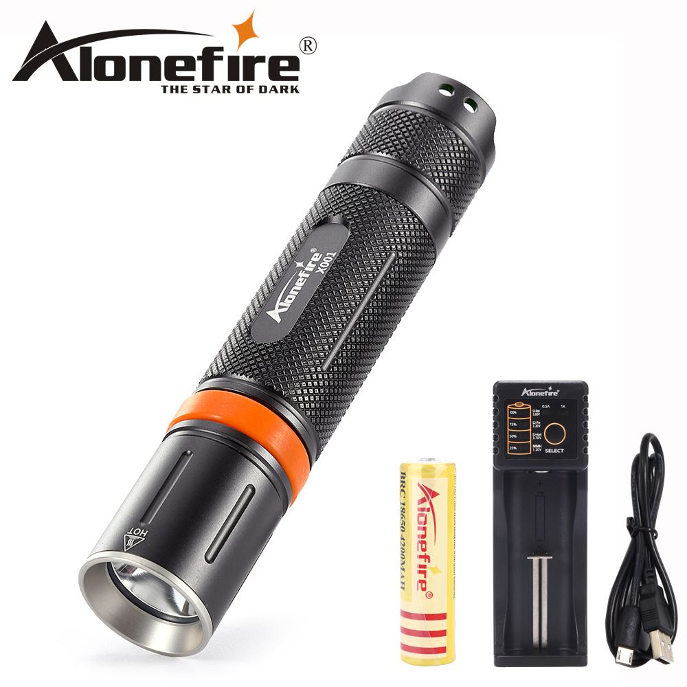 AloneFire X001 Portable LED Flashlight LED Torch Flashlight CREE XM-L L2 5 Mode Light For 18650 or 3xAAA NO Battery фонарик 10 xml l2 l2 2500lm 5 18650 3xaaa