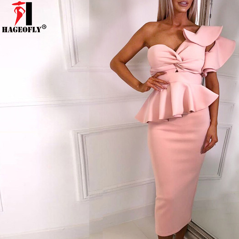 HAGEOFLY 2018 Women Bodycon Set One Shoulder Pink Ruffles Sleeve Vestido Bow Ruffles Celebrity Evening Runway