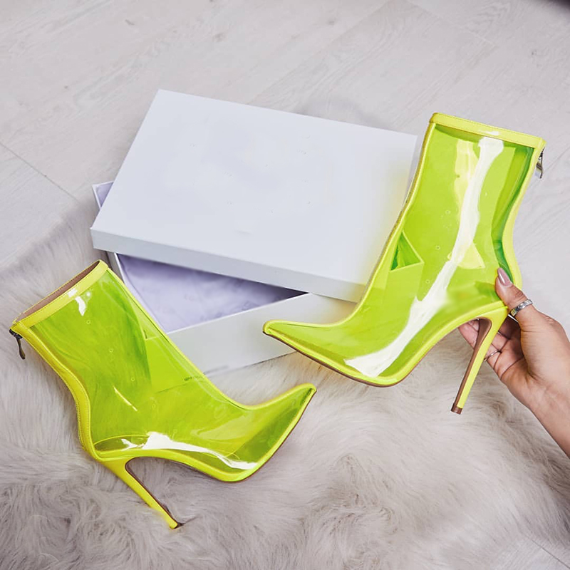 Spring Hot Sale New New Women PVC ankle Boots Super high heels women shoes sexy Transparent boots Pointed toe crystal handmade in Ankle Boots from Shoes