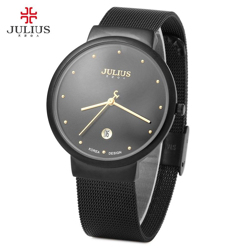 Julius Ultra Thin Men Full Steel Watch Japan Movement Waterproof Quartz Wrist Watch Male Calendar Dress