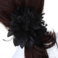 Flower Brooch Pin Headband Ribbon Black Floral Feather Wedding
