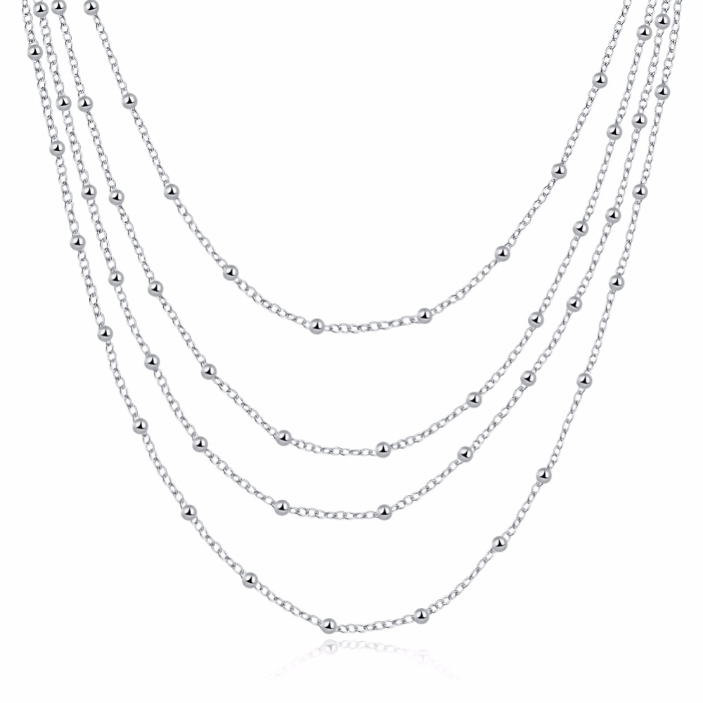 CHUKUI 3 Layered Chain Necklace Women Silver Layers Beads Chain Necklace Gifts for Girls Cheap 18 inch попов в за грибами в лондон page 3