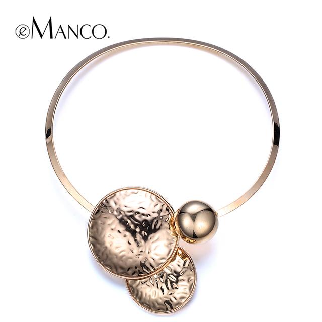 //Gold choker collar torques collar//verano estilo de metal choker collar punk collar geométrico e-manco nl12384