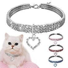 Coleira de cão de cristal, colar com strass brilhante, formato de coração, de diamante, filhote de cachorro, colar para cães de estimação