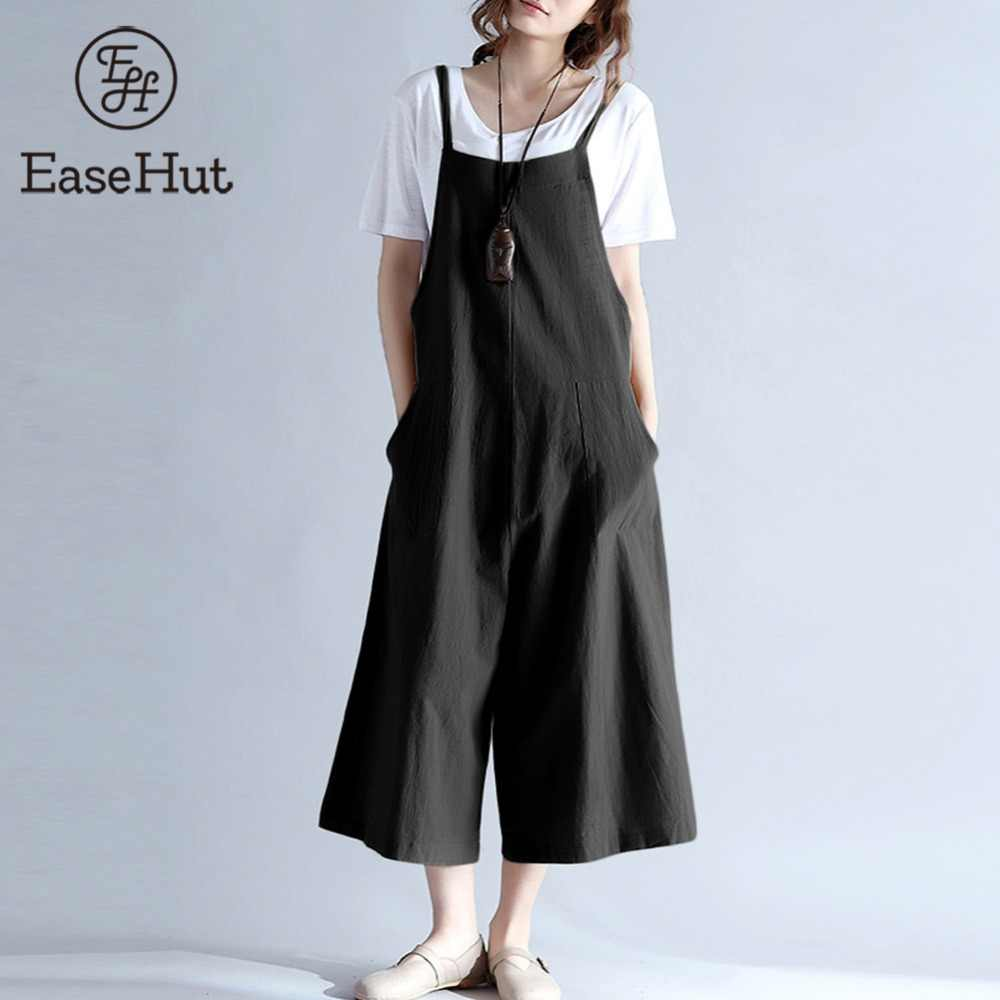 f73a9cc0567 EaseHut 2018 Plus Size Women Cotton Pockets Long Wide Leg Romper Strappy  Dungaree Overalls Casual Loose