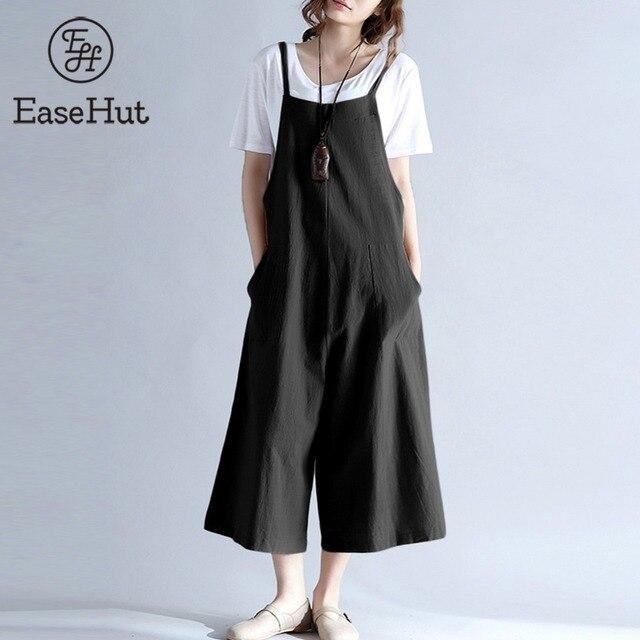 EaseHut 2019 más el tamaño de las mujeres de algodón bolsillos largo pierna ancha mono de tirantes mono Casual suelto sólido Pantalones