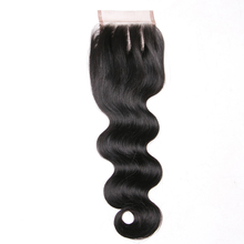 Queen like Human Hair Products Three Part 130% Density Swiss Lace Non Remy Natural Color Bleached Knots Body Wave Lace Closure