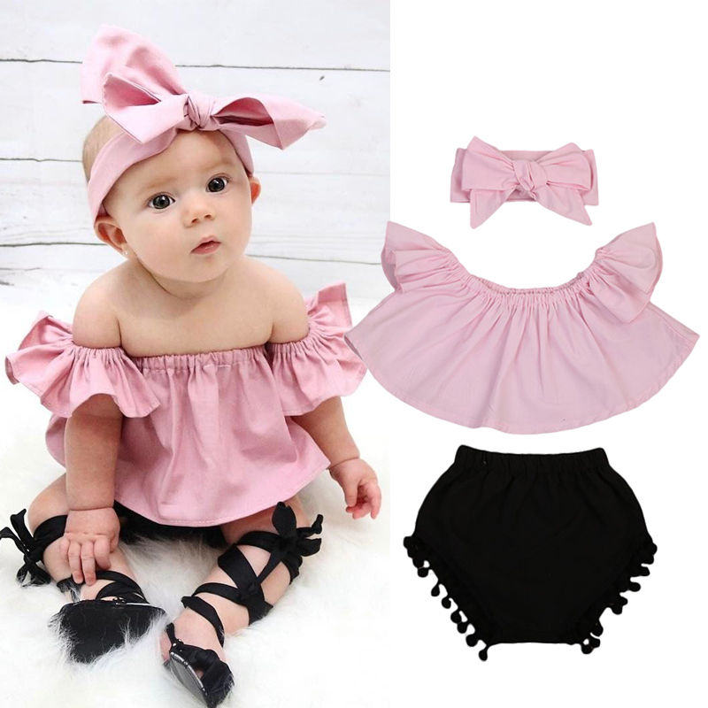 Cherry Top Shirt Girls Toddler Casual Short Outfits Set Hole Shorts Bowknot Headband