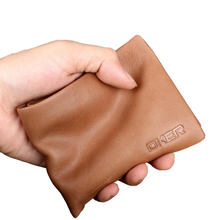 New Brown Designer Money Purse Cow Genuine Leather Men's Wallets Soft Fashion Money Bag High Quality Casual Walltets