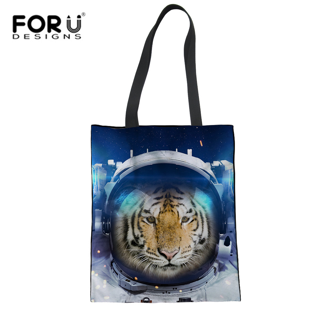 FORUDESIGNS Astronaut Tiger Cat Printing Shopping Bags Galaxy Grocery Eco-friendly Tote Portable Bags Portable Folding Handbag