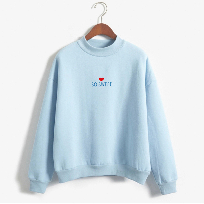 2018 New Women Hoodies Cute Harajuku Kawaii Sweet Hoodies Fashion Design Heart Letters Printed Sweet Style Tracksuit Hoodies