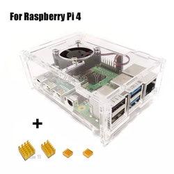Transparente Acrílico Caixa Box Caixa com 4 Ventilador de Refrigeração do Dissipador de Calor para Raspberry Pi Modelo B