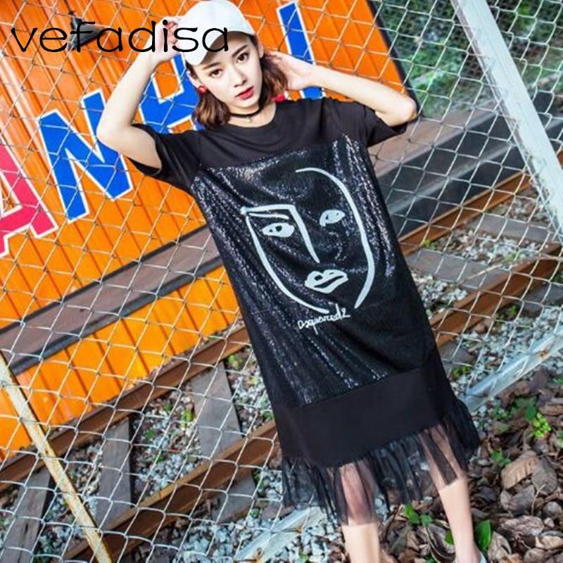 Vefadisa 2018 Summer Clothes Short Sleeve Black Shirt Dress Robe Femme Printed  Dress for Women Mid 5df5eeda403d