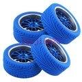 4 PCS RC 1/10 On-Road Car Espuma de Borracha Esponja Pneus Azul & roda Jantes hub 12mm HEX Fit HSP HPI REDCAT 9049-8012
