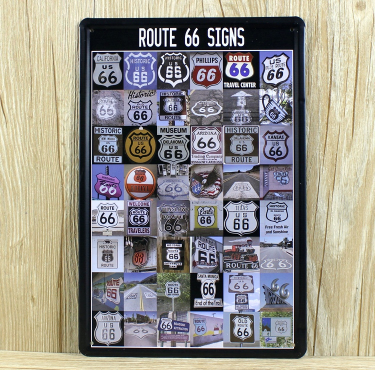 Vintage Signs For Sale >> Us 6 47 28 Off Hot Sale Xd632 Route 66 Singns Metal Painting Tin Signs Cafe Bar Vintage Wall Stickers Home Decor 20x30 Cm 2015 In Plaques Signs