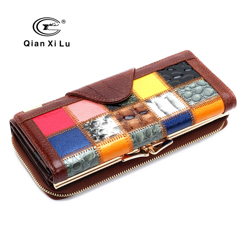2017 Fashion Genuine Leather Wallet Womens Clutch Purse Phone Wallets Long portefeuille femme dollar price new european and american ultra thin leather purse large zip clutch oil wax leather wallet portefeuille femme cuir