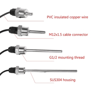 "Image 2 - DS18B20 Digital Temperature Sensor G1/2"" Thread Probe DIA=7mm 1m PVC 3 core Wire SUS304 Stainless Steel Shell L30mm  L150mm XJ8"