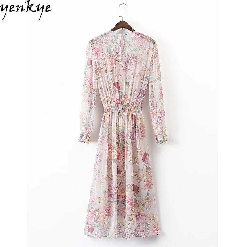 Musim luruh gaun chiffon wanita manis o leher lengan panjang pakaian - Pakaian wanita - Foto 2