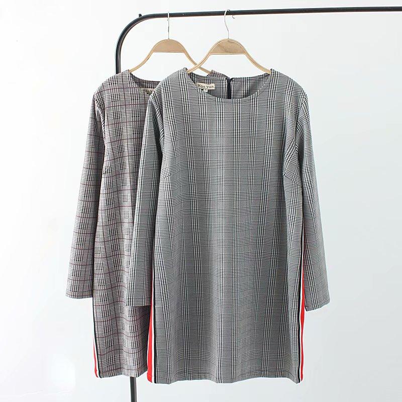 Plus size spring autumn O Neck long sleeve side stripe mini ladies dress 2018 fashion brown & black plaid vestidos female 4XL