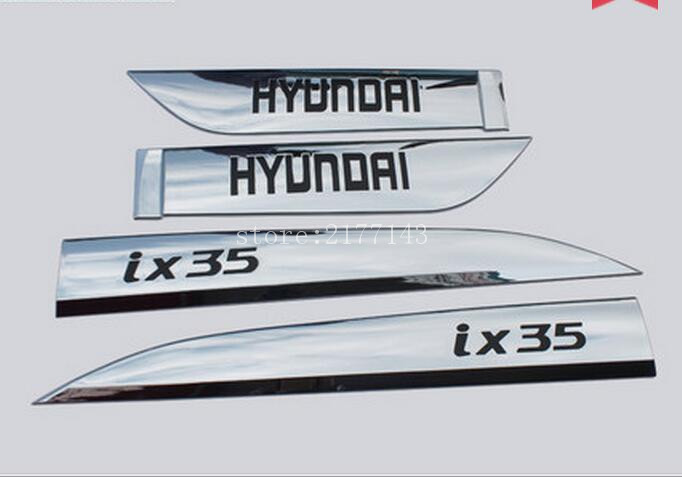 ABS Chrome car decoration on side door molding trim for hyundai IX35 2015 2016  car styling accessories  high quality abs chrome decoration interior garnish molding kit 17pcs for hyundai 2013 2016 santafe make in korea accessories