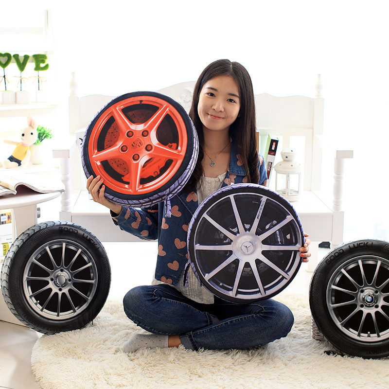 1pc 38CM 3D Personalise Automobile Wheel Tires Pillow Plush Cushion / Simulate Tire Pillow Cushions Pollow Cushion WITH Filling