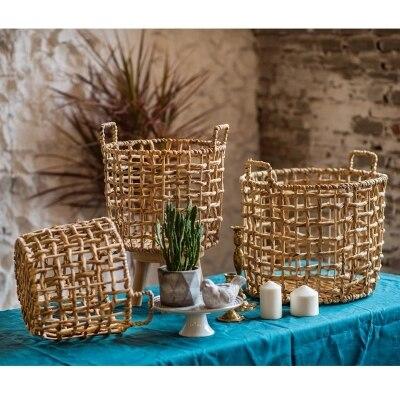 Panier de rangement paille rotin fait main algues style nordique panier à fleurs vase moderne maison déco