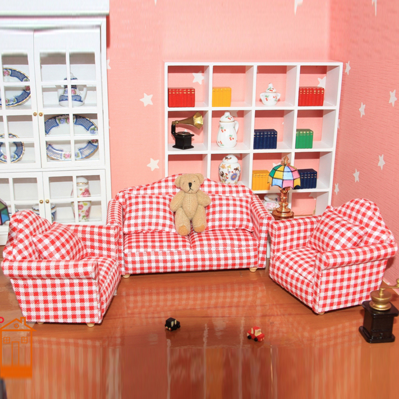 cool 12 scale dollhouse living room set | 1:12 Scale Dollhouse Living Room Sofa Set furniture Doll ...
