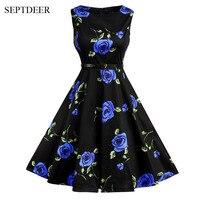 Europe And The United States Zippeer Back Elegant 50s Retro Floral Print Fashion Dresses S XXL