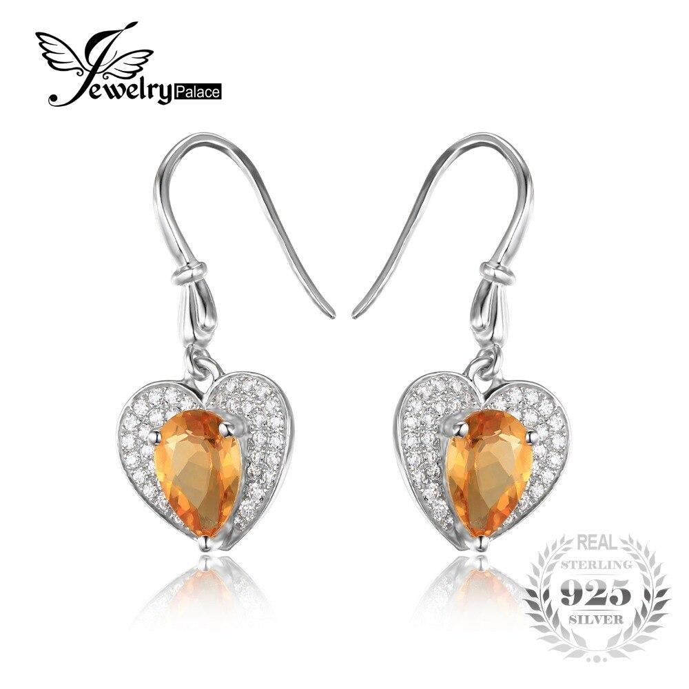 745daa1676a3 Jewelrypalace corazón amor 2.4ct amarillo genuino citrine halo Pendientes 925  nuevo Joyería fina para las mujeres