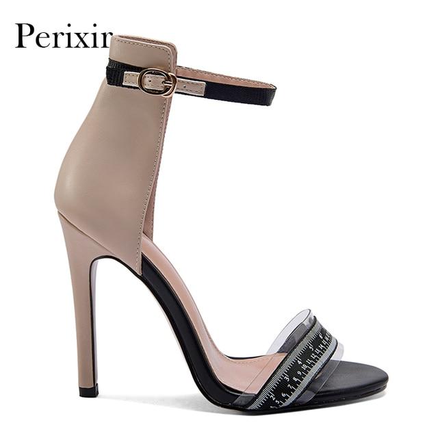 Perixir women shoes nude simple sandal peep toe super high heel summer hot  sale 2018 1326937b5594