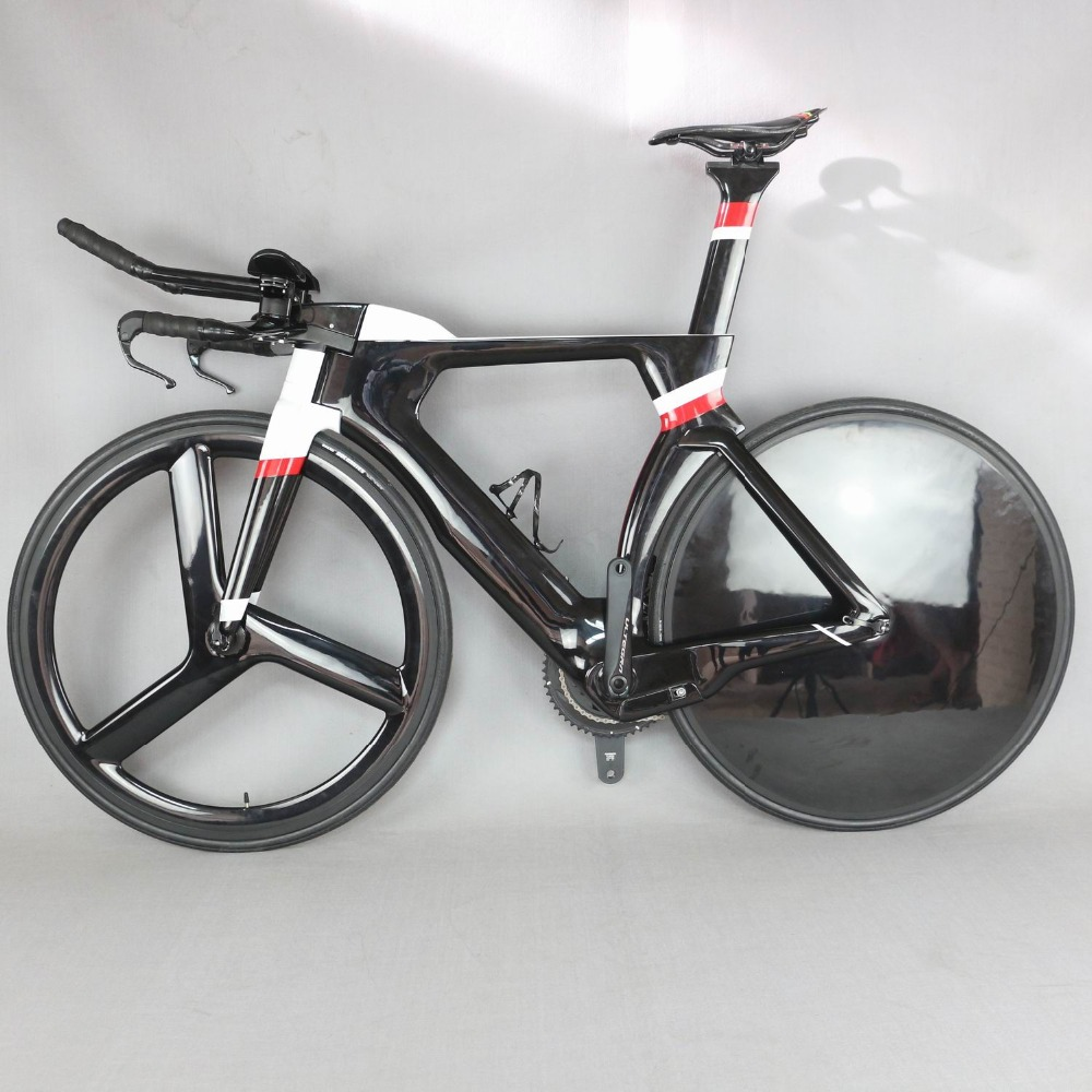 700C Complete Bike TT Bicycle Time Trial Triathlon Carbon Fiber Carbon Black Painting Frame with DI2