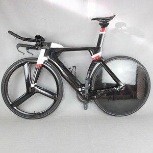 700C كاملة الدراجة TT دراجة وقت المحاكمة الترياتلون الكربون الألياف الكربون الأسود اللوحة الإطار مع DI2 R8060 groupset