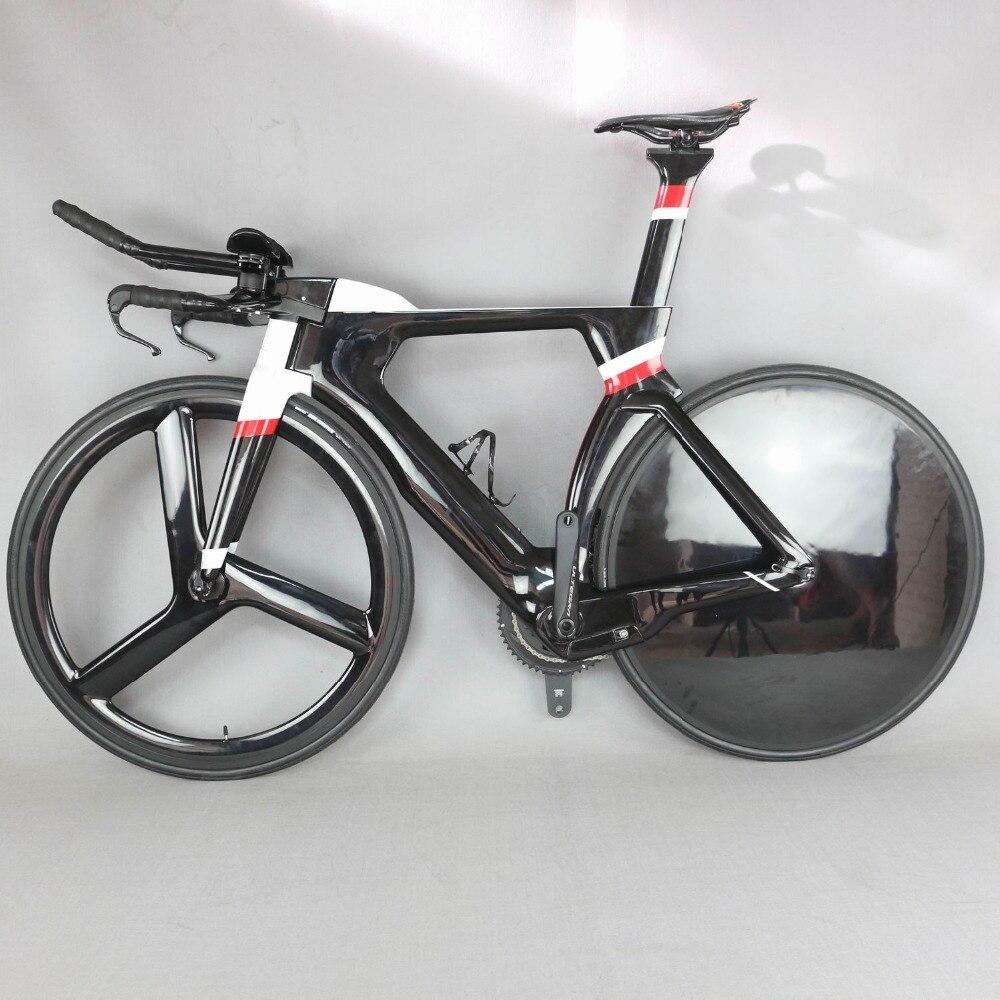 700C Vélo Complet TT Vélo Time Trial Triathlon Carbone fibre de Carbone Noir cadre pour tableau avec DI2 R8060 groupset