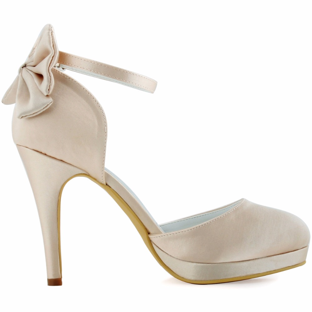 AJ091 PF Women Shoes White Ivory Bridal Party High Heel Platform Pumps Bow Ankle  Strap Buckles Satin Bride Dress Wedding Shoes-in Women s Pumps from Shoes  ... 2244cb710d82