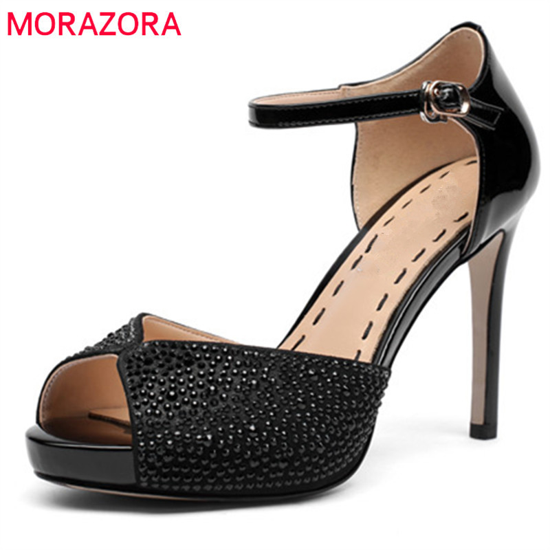 MORAZORA 2018 new arrive women sandals genuine leather summer shoes sexy peep toe party wedding shoes high heel shoes woman fedonas sexy women sandals high heel buckles wedding party shoes woman genuine leather ladies shoes pointed toe summer slippers