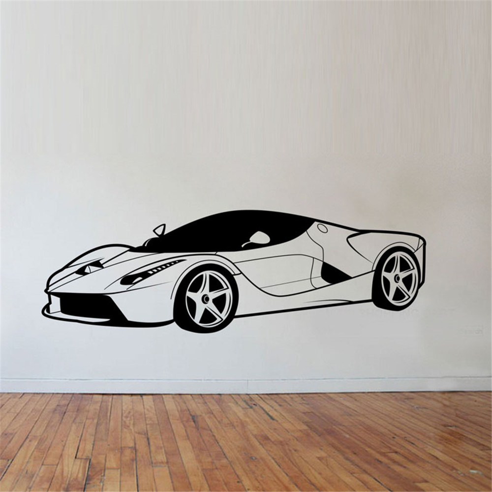 Cool Sports Car Wall Stickers Boys Bedroom Wall Decor Vinyl Removable Wall Decals For Children Fashion Wallpapers For Boys